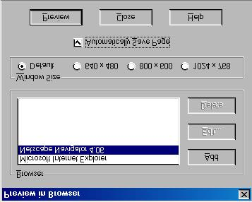 3. Click on Netscape Navigator so that it is highlighted. 4. For Window Size, select Default so that it is check marked. 5. Click the Automatically Save Page box so that it is check marked. 6.