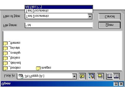 14. Select All Files from the Files of Type menu. All files on the floppy disk are displayed. 15. Double-click: index.htm 16. Scroll through the code.