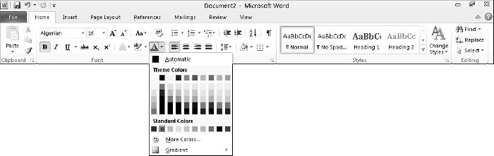 24 Part I: Getting to Know Microsoft Office 2010 Figure 1-12: The two types of one-click icons. Bold Replace Figure 1-13: A typical menu icon on the Home tab in Word.
