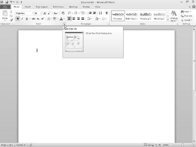 Chapter 1: Introducing Microsoft Office 2010 27 Figure 1-17: The Show Dialog Box appears in many grouped commands on the Ribbon.