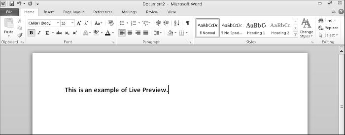 Chapter 1: Introducing Microsoft Office 2010 29 Figure 1-19: Live Preview lets you see how a particular command could change your file.