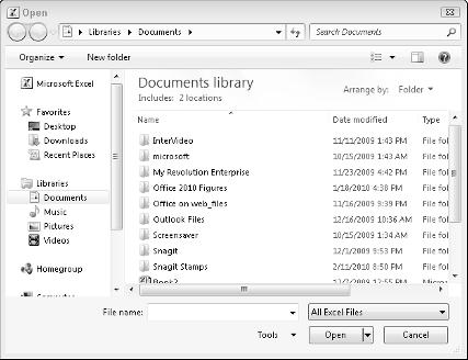 Chapter 1: Introducing Microsoft Office 2010 15 Figure 1-4: The Open dialog box lets you change drives and folders to find the file you want to use.