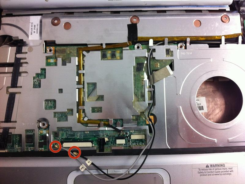 Upon removing the Phillips screws that secure the wireless card to the motherboard, the