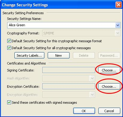 4. Click the 'Choose' button next to the 'Signing Certificate' field. A new window will appear which will allow you to choose your signing certificate from the list of imported certificates. 5.