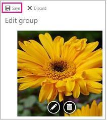 In the group header, select the current picture. 4. In Edit group, select Change photo. 5. In Edit group, click Save.