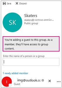 Be group owners View the global address list View all information on group member contact cards View membership of the group The group owner can revoke guest access at any time.