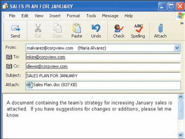 Figure 4-2.11 E-mail makes communicating fast and easy. Sent box or folder.