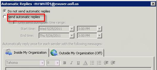 108 Microsoft Outlook 2010 Basics Out of Office Reply When you are out of the office, for example on vacation, you can use 'Automatic Replies' to respond whenever someone sends you an email message.
