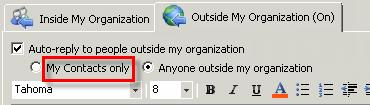 Click the Outside My Organization tab. 15. Click in the Outside My Organization response field. 16.