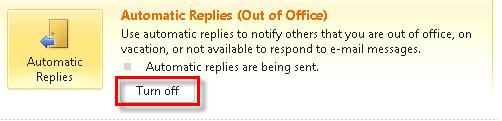 110 Microsoft Outlook 2010 Basics Turning Off the Out of the Office Reply 1.