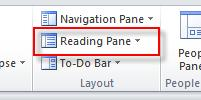 16 Microsoft Outlook 2010 Basics Turn off the Reading Pane 1.