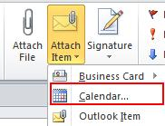 Microsoft Outlook 2010 Basics 29 Adding Outlook Items to your Mail Message You can attach additional items to a mail message, such as a calendar or task.