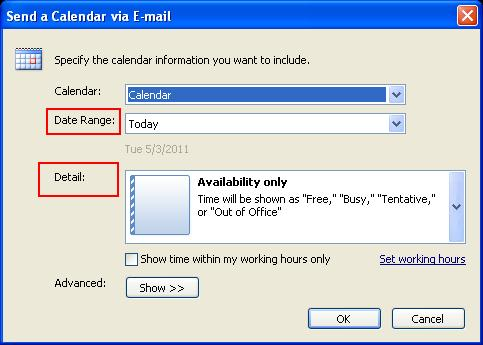 30 Microsoft Outlook 2010 Basics 5. Choose the Date Range and Detail level.