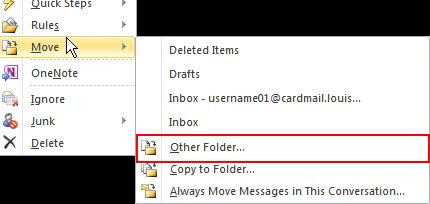 Click and drag the mail message into its original folder or another