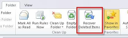 Microsoft Outlook 2010 Basics 45 Deleting a Mail Message Permanently 1. Click on the folder to which you want the mail message to return. 2. Right-click on the mail message. 3.