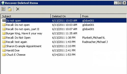 46 Microsoft Outlook 2010 Basics 4. Choose the mail item you wish to recover. 5.