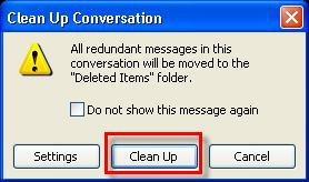 You have three levels of conversation from which to choose: selected conversation, all conversations in a folder, and all