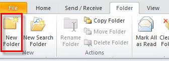 Microsoft Outlook 2010 Basics 53 Creating a Personal Folder You