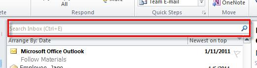 Microsoft Outlook 2010 Basics 65 1. Click in the Search field. 2. Type the search criteria. 3.