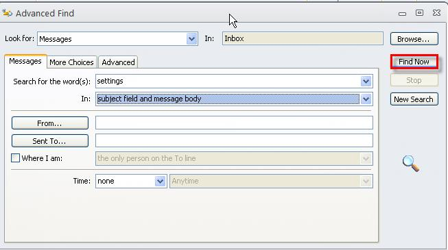 66 Microsoft Outlook 2010 Basics Advanced Search You can use more specific criteria using the Advanced Search feature. 1. Click in the Search field. 2. On the Search Ribbon, click the Search Tools button.