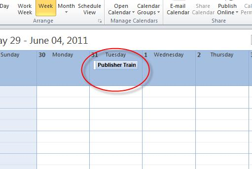 Microsoft Outlook 2010 Basics 81 The appointment appears in the date header on the calendar.