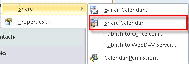 Microsoft Outlook 2010 Basics 89 Shared Calendars At times, you may want to share your calendar with