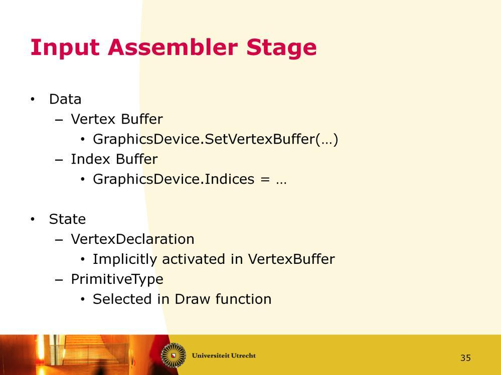 We look at how you can influence each stage in XNA. First the Input Assembler stage. You have to bind the vertex and index buffer it will use.