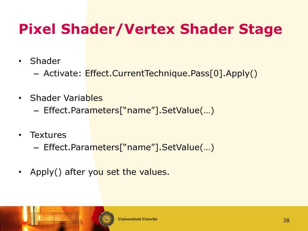 Both the Vertex Shader and Pixel Shader stage are set through an Effect. An Effect can have multiple techniques, which in turn can have multiple passes. A Technique describes a specific way to render.