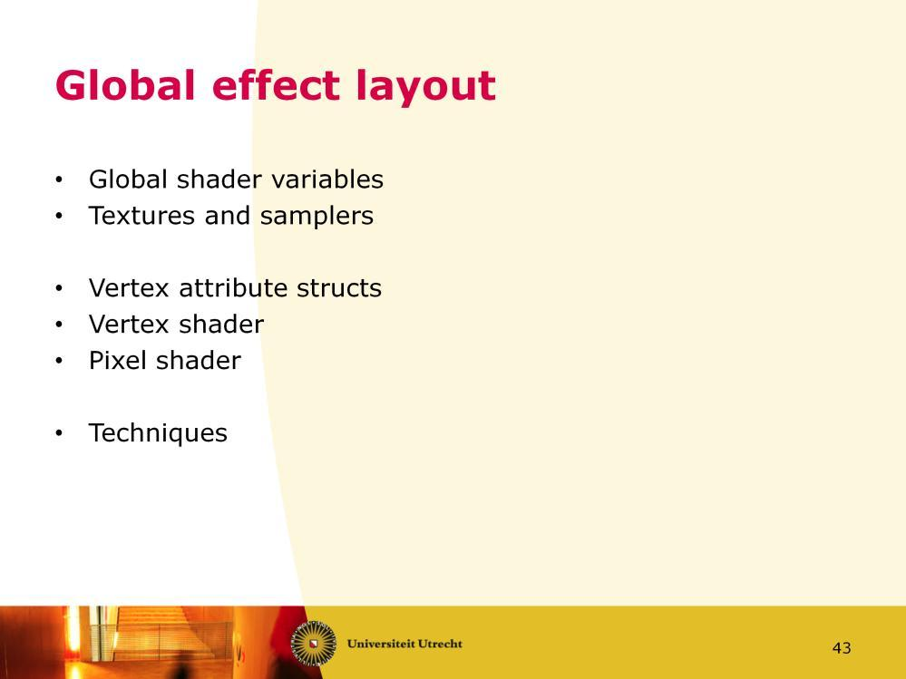 An effect file has globally this layout. At the top there are shader variables which contain the data you set in XNA (as explained in slide 38).