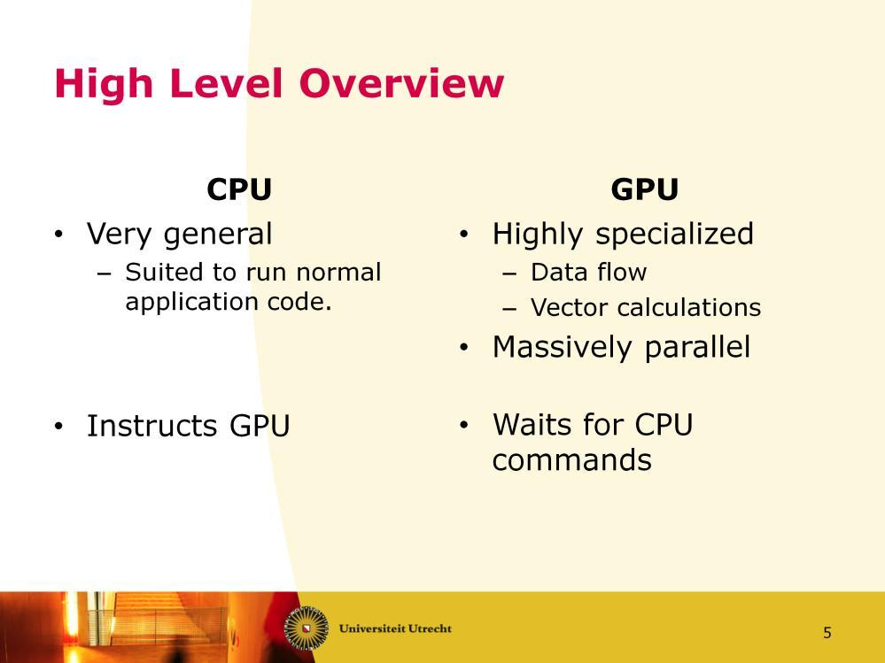 The CPU can run any type of program. It is designed to be very flexible to deal with every application. The GPU can only run specific programs which conform to the GPU s specific data flow.
