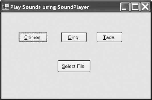 A Sound-Playing Program Users can choose to play one of the preselected sounds or