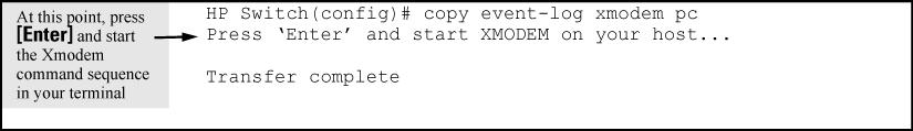 Figure 44 Sending event log content to a file on an attached PC Copying crash data content to a destination device (CLI) This command uses TFTP, USB, or Xmodem to copy the Crash Data content to a