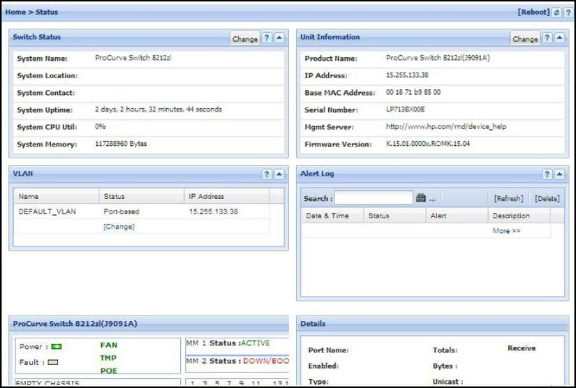 Figure 54 Example: of a WebAgent status screen Interface monitoring features You can designate monitoring of inbound and outbound traffic on: Ports and static trunks: Allows monitoring of individual