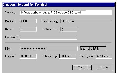 => sp 115200 b. Change the terminal emulator baud rate to match the switch speed: i. In HyperTerminal, select Call Disconnect. ii. Select File Properties. iii. Click on Configure. iv.