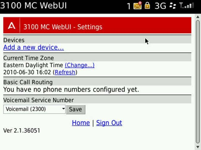 Configuring the Avaya 3100 MC - Web UI Adding a phone number or device After you access the Avaya 3100 MC - Web UI for the first time, you receive a prompt to add a phone number or device.