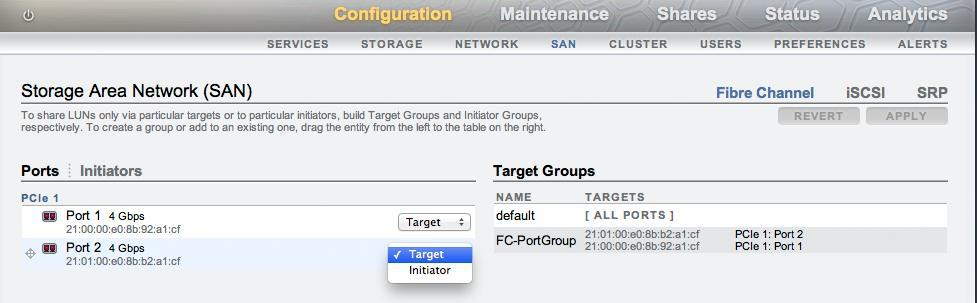 In the Oracle ZFS Storage Appliance, at least one FC PCIe card must be installed with one port enabled in target mode.