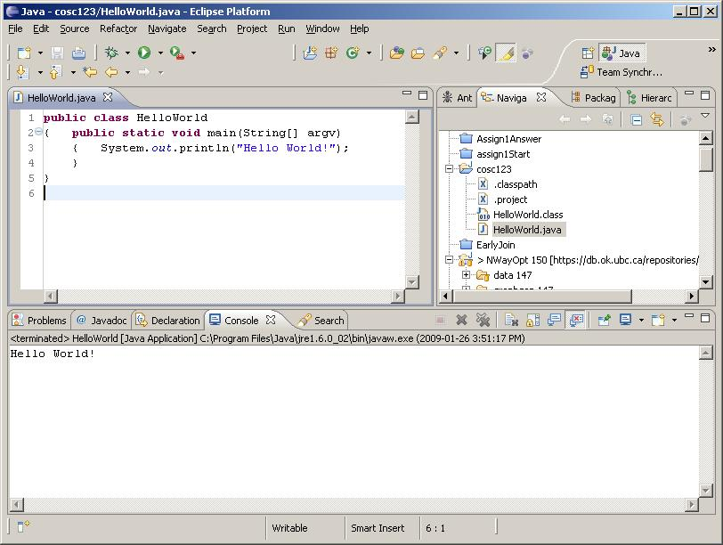Eclipse Main Screen Execute (run) button File being