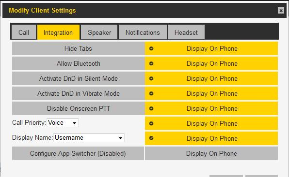 PTT PRO ADMIN PORTAL Integration Tab Configuration Bluetooth On/Off DnD Silent Mode Control DnD