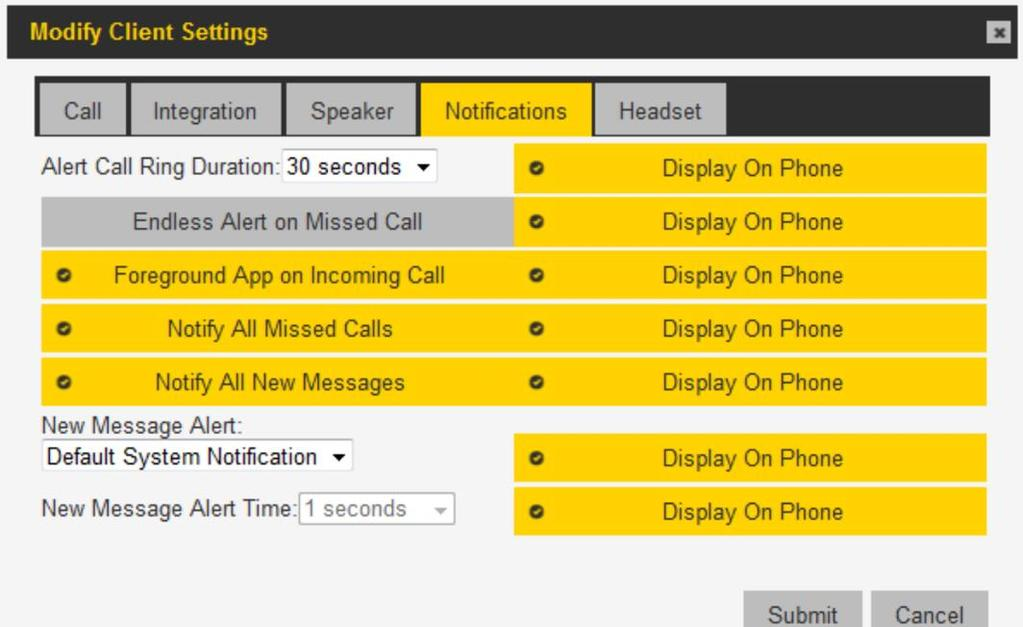 PTT PRO ADMIN PORTAL Notifications Missed Call Incoming Call Notify All