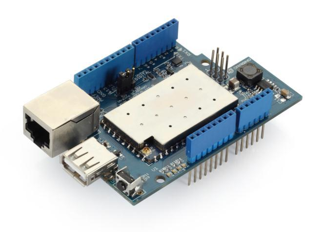 6.2 Arduino Yun Shield Arduino Yun Shield is a WiFi, Linux, Ethernet, and USB Shield for Arduino. Product Link: http://www.dragino.