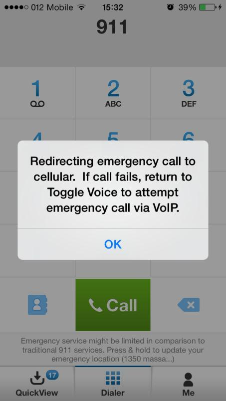 If your device has cellular service, AT&T Toggle Voice redirects the call to your native dialer.
