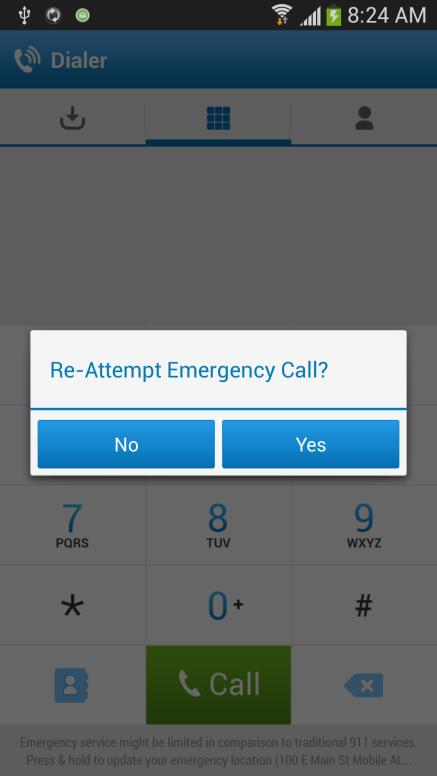 3. If the call fails to go through for any reason (such as inadequate cellular service), AT&T Toggle Voice automatically prompts you to re-attempt the call using the VoIP network (note - (depending