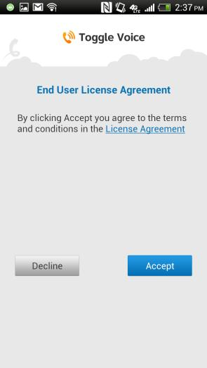End User License Agreement (EULA) for AT&T Toggle, which governs your use of the AT&T Toggle Voice VoIP solution.