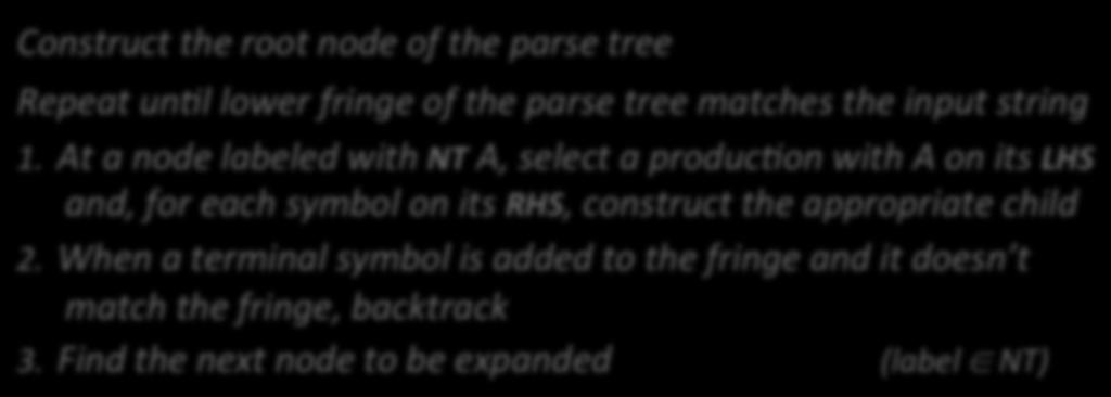 Top-down Parsing The Algorithm A top-down parser starts with the root of the parse tree The root node is labeled with the goal symbol of the grammar Construct the root node of the parse tree Repeat
