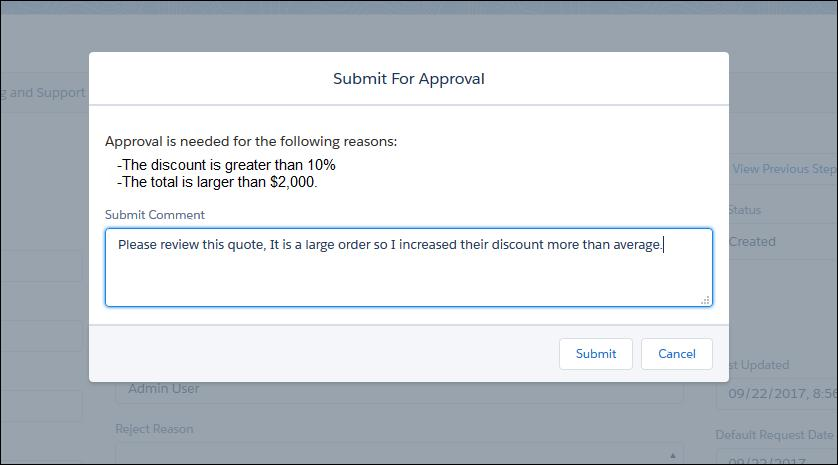Example of a Quote with the Approval Status, Approval History, and Approval Revision Fields This Approvals process supports simple approvals as well as, multiple serial or parallel approvers.