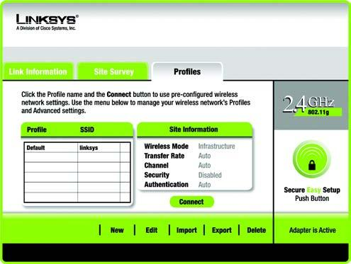 Profiles The Profiles screen lets you save different configuration profiles for different network setups.