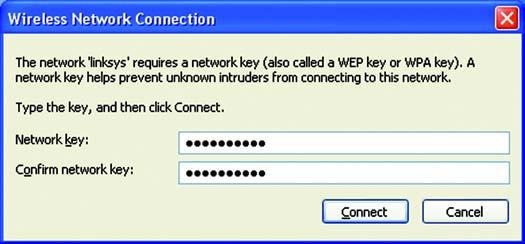 4. If your network uses wireless security WEP, enter the WEP Key used into the Network Key and Confirm network key fields.