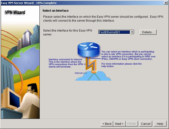 Select the outside interface on which the Cisco Easy VPN server should be configured; in this scenario the