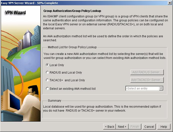 For Group Authorization/Group Policy lookup, select Local Only (Figure 6);