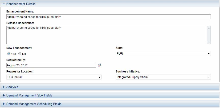 Chapter 3: Viewing Requests Figure 3-4. Request detail page, details section Request Detail Page, New Table Component Starting from PPM Center version 9.